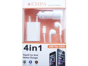 Nabíjecí set se sluchátky 4v1 – mini usb adaptér, Lightning kabel, autoadaptér a sluchátka pro Apple iPhone