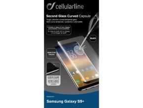 Ochranné zaoblené tvrzené sklo pro celý displej CellularLine GLASS pro Samsung Galaxy S9 +, černé