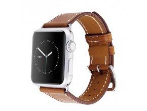 Clearo Simple kožený řemínek / pásek pro Apple Watch 42mm – Brown