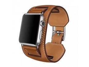Clearo Luxury 2v1 kožený řemínek / pásek pro Apple Watch 42mm – Brown 2