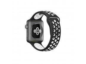 Clearo Sport Silikonový řemínek : pásek pro Apple Watch 42mm – černo bílý