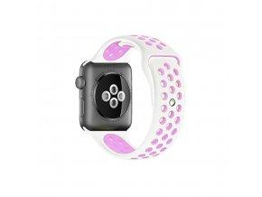 Clearo Sport Silikonový řemínek : pásek pro Apple Watch 42mm – bílo růžový