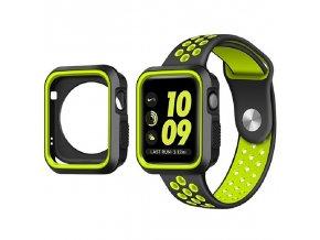 Set Clearo Sport Silikonový řemínek : pásek + Pouzdro pro Apple Watch 42mm – černo žlutý