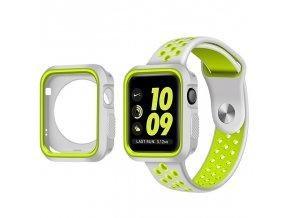 Set Clearo Sport Silikonový řemínek / pásek + Pouzdro pro Apple Watch 38mm – šedo-žlutý