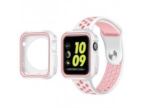 Set Clearo Sport Silikonový řemínek : pásek + Pouzdro pro Apple Watch 42mm – bílo růžový