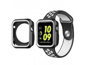Set Clearo Sport Silikonový řemínek : pásek + Pouzdro pro Apple Watch 38mm – černo bílý