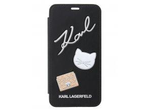 Pouzdro Karl Lagerfeld Pins Book Pouzdro pro iPhone X, Black