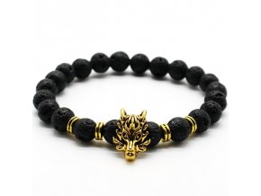 lavovy naramek wolf gold black