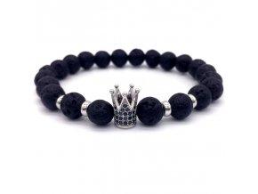 Lávový náramek Clearo Luxury Bracelet Crown - silver