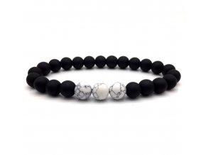 Náramek z přírodních kamenů Clearo Luxury Marble Triple – white