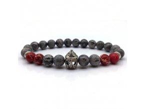 Náramek z přírodních kamenů Clearo Luxury Helmet červeno šedý