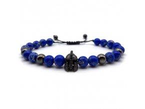 Náramek z přírodních kamenů Clearo Luxury Helmet modro černý