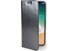 Ultra tenké pouzdro typu kniha CELLY Air pro Apple iPhone X, PU kůže, černé