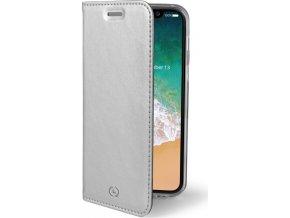 Ultra tenké pouzdro typu kniha CELLY Air pro Apple iPhone X, PU kůže, stříbrné