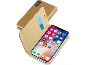 Pouzdro typu kniha CellularLine Book Essential pro Apple iPhone X, hnědé