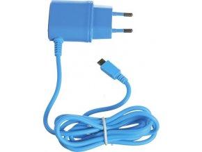 Cestovní nabíječka CELLY s konektorem microUSB, 1A, modrá, blister,rozbaleno