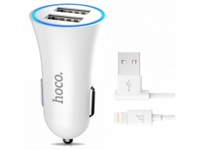 HOCO set Autoadaptér + Lightning kabel pro iPhone – UC204 WHITE
