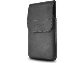 Kožené pouzdro FIXED Posh Pocket s klipem, velikost 5XL, černé