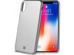 TPU pouzdro CELLY Softmatt pro Apple iPhone X, matné provedení, stříbrné