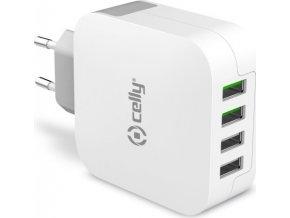 Cestovní nabíječka CELLY TURBO s 4 x USB výstupem, 4,8 A