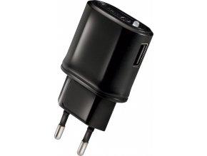 Cestovní nabíječka CELLY s USB výstupem, 1 A, černá, blister
