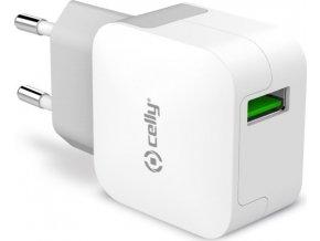 Cestovní nabíječka CELLY TURBO s USB výstupem, 2,4 A, bílá