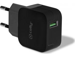 Cestovní nabíječka CELLY TURBO s USB výstupem, 2,4 A, černá