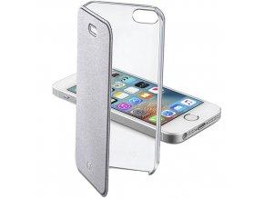 Průhledné pouzdro typu kniha CellularLine Clear Book pro Apple iPhone 5/5S/SE, stříbrné