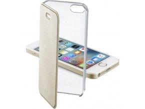 Průhledné pouzdro typu kniha CellularLine Clear Book pro Apple iPhone 5/5S/SE, zlaté