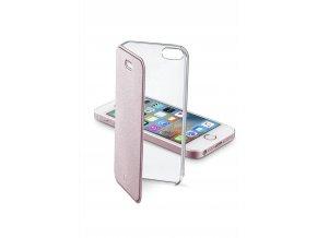 Průhledné pouzdro typu kniha CellularLine Clear Book pro Apple iPhone 5/5S/SE, růžové