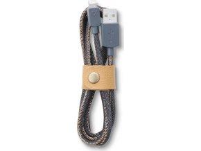 Datový kabel Cellularline LONGLIFE, Apple lightning, textilní obal, design Jeans