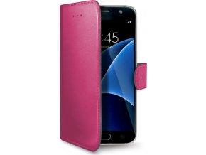 Pouzdro typu kniha CELLY Wally pro Samsung Galaxy S7, PU kůže, fuchsiové