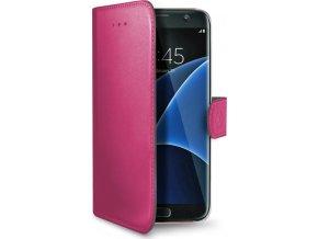 Pouzdro typu kniha CELLY Wally pro Samsung Galaxy S7 Edge, PU kůže, fuchsiové