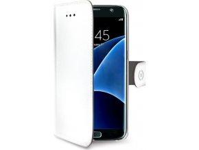 Pouzdro typu kniha CELLY Wally pro Samsung Galaxy S7 Edge, PU kůže, bílé
