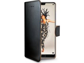 Pouzdro typu kniha CELLY Wally pro Huawei P20, PU kůže, černé
