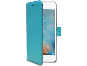 Pouzdro typu kniha CELLY Wally pro Apple iPhone 7 Plus/8 Plus, PU kůže, tyrkysové