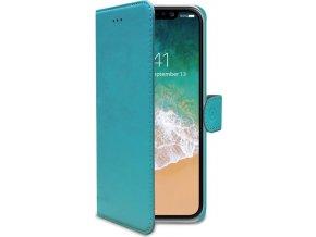 Pouzdro typu kniha CELLY Wally pro Apple iPhone X, PU kůže, tyrkysové