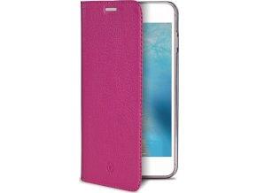 Pouzdro typu kniha CELLY Air Pelle pro Apple iPhone 7 Plus/8 Plus, pravá kůže, růžové