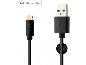 Datový a nabíjecí kabel FIXED s konektorem Lightning, 2,4A, černý
