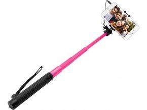 Teleskopický selfie stick FIXED v luxusním hliníkovém provedení, 3,5 mm jack, růžový