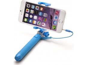 Selfie stick CELLY Mini selfie, spoušť přes 3.5mm jack, kompaktní rozměry, světle modrá