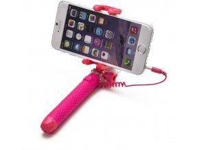 Selfie stick CELLY Mini selfie, spoušť přes 3.5mm jack, kompaktní rozměry, růžová