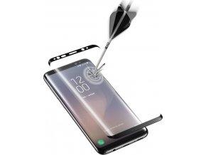 Ochranné zaoblené tvrzené sklo pro celý displej CellularLine GLASS pro Samsung Galaxy S8, černé