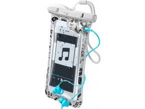 """Vodotěsné univerzální pouzdro Cellularline VOYAGER MUSIC pro mobilní telefony do 6,3"""" s 3,5 mm konektorem pro sluchátka"""