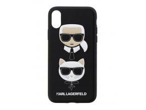 Kryt Karl Lagerfeld Karl and Choupette Hard Case Black pro iPhone X