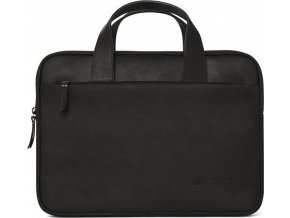 Decoded Waxed Slim Bag, black -MacBook 12, 13, 15