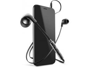 In-ear sluchátka CellularLine HORNET s mikrofonem, 3,5 mm jack, plochý kabel, černá