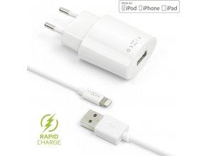 Síťová nabíječka FIXED s odnímatelným Lightning kabelem, 2,4A, bílá