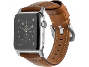 Nomad Horween Leather Strap Traditional, silver