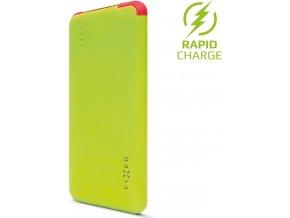 Powerbanka FIXED Zen Slim 5000 s microUSB kabelem a adaptéry USB Type-C + Lightning, 5000 mAh, limetková
